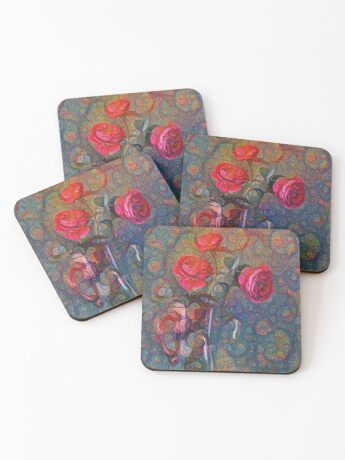Roses #DeepDreamed Coasters