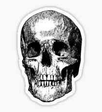 Woodblock Etched Skull Sticker