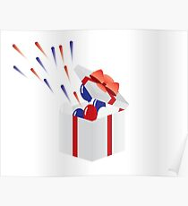 4th of july Usa independence day gift box with fireworks Poster