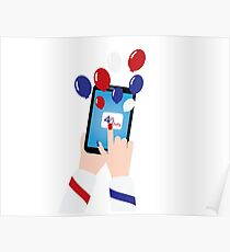 4th of july smartphon and balloons Poster