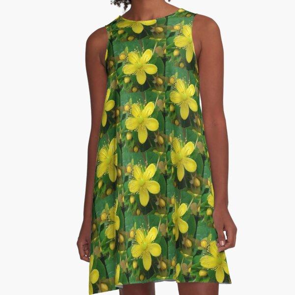 Yellow Flowers A-Line Dress