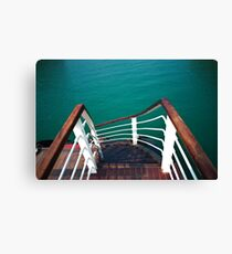 Steps down to the lower deck, Ha Long Bay, Vietnam Canvas Print