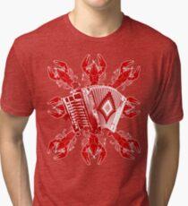 Camiseta de tejido mixto Música cajún y cangrejos