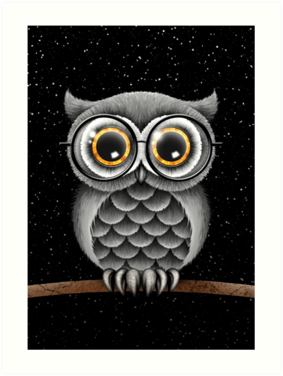 Cute Fluffy Gray Owl with Reading Glasses by jeff bartels