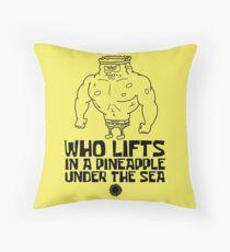 Spongebob - Who Lifts [Black] || Gym Gear Throw Pillow