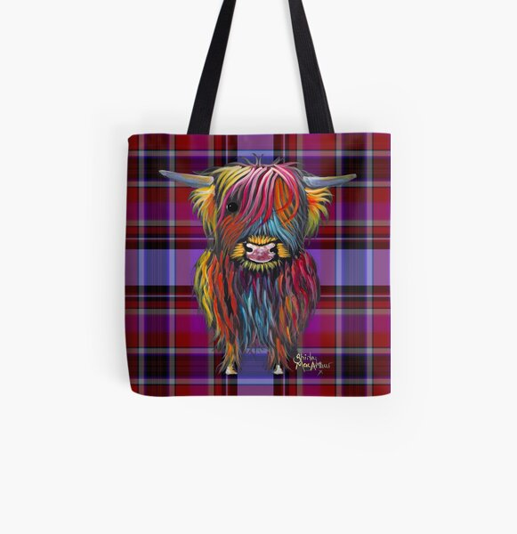 SCoTTiSH HiGHLaND CoW ' TaRTaN BRaVeHeaRT ' by SHiRLeY MacARTHuR All Over Print Tote Bag