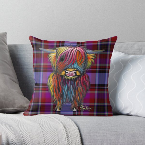 SCoTTiSH HiGHLaND CoW ' TaRTaN BRaVeHeaRT ' by SHiRLeY MacARTHuR Throw Pillow