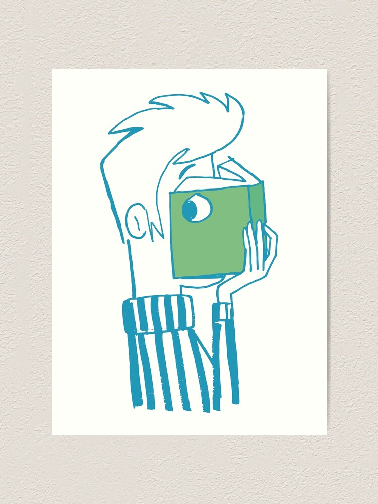 Alternate view of man who reading a book Art Print