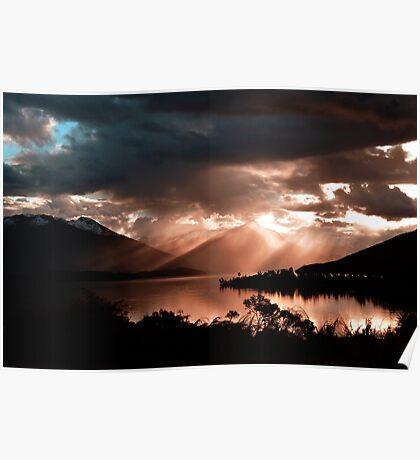 Sunset At Lake Te Anau. South Island, New Zealand. Poster