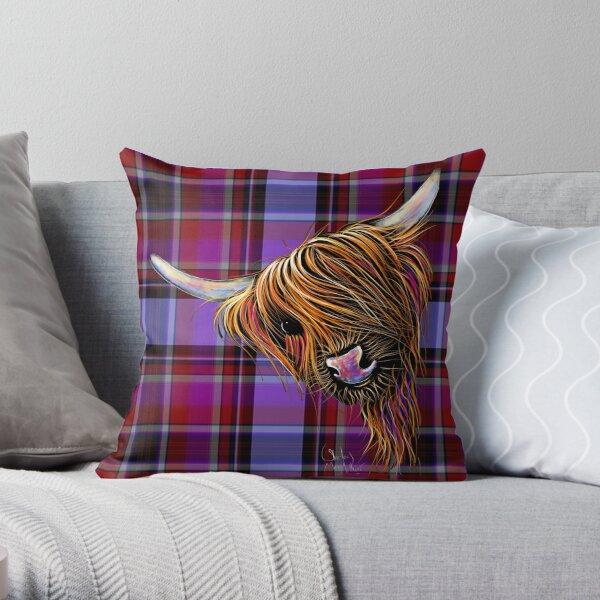 SCoTTiSH HiGHLaND CoW ' TaRTaN NooDLeS P ' by SHiRLeY MacARTHuR Throw Pillow