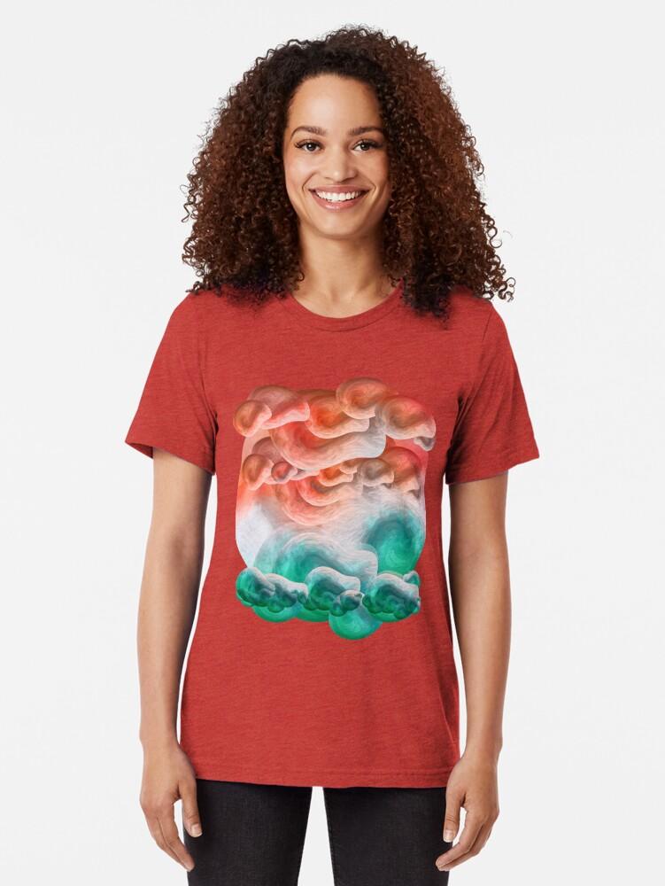 """Vista alternativa de Camiseta de tejido mixto """"Playa de arena coral y mar turquesa tropical"""""""