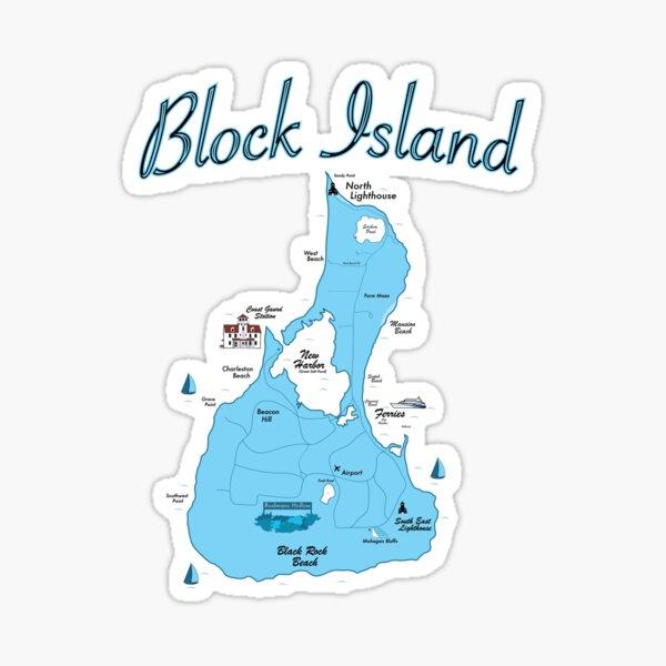 Block Island Map-RI Sticker