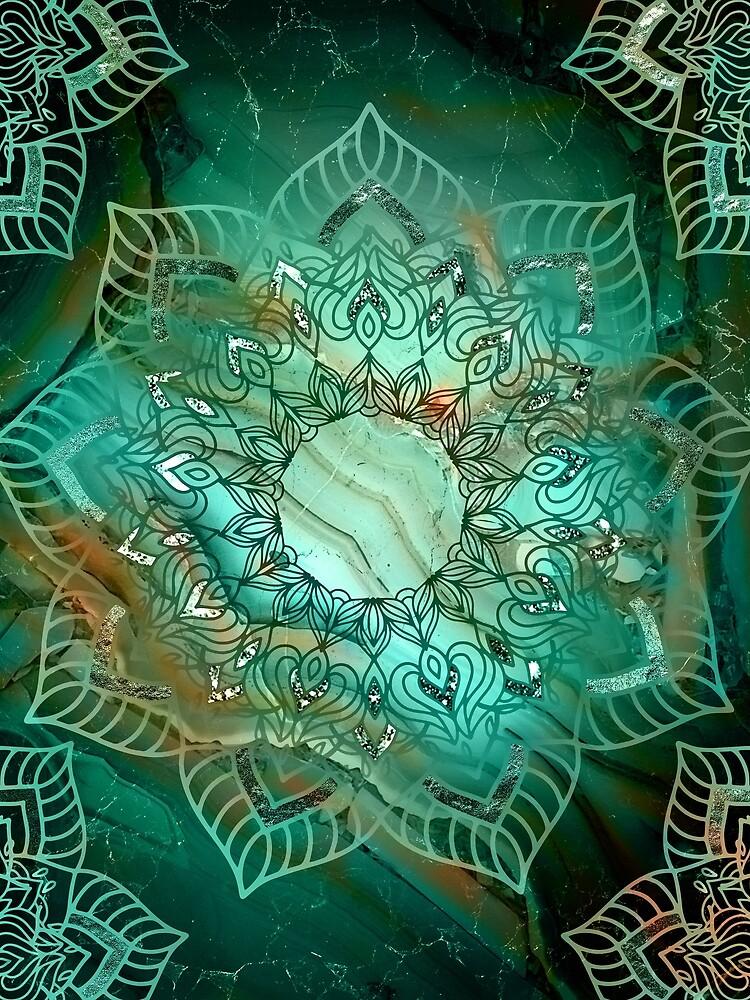 Wunderschönes Mandala - Türkisfarbene Kupfer- und Silbertöne von Quaintrelle