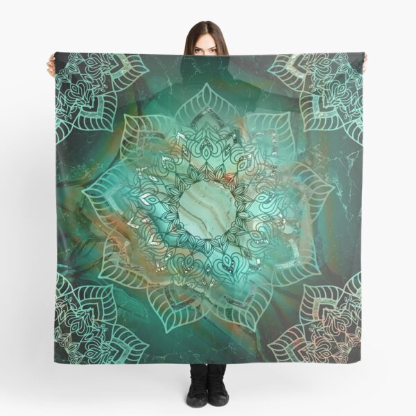 Beautiful Mandala - Teal turquoise copper and silver tones  Scarf