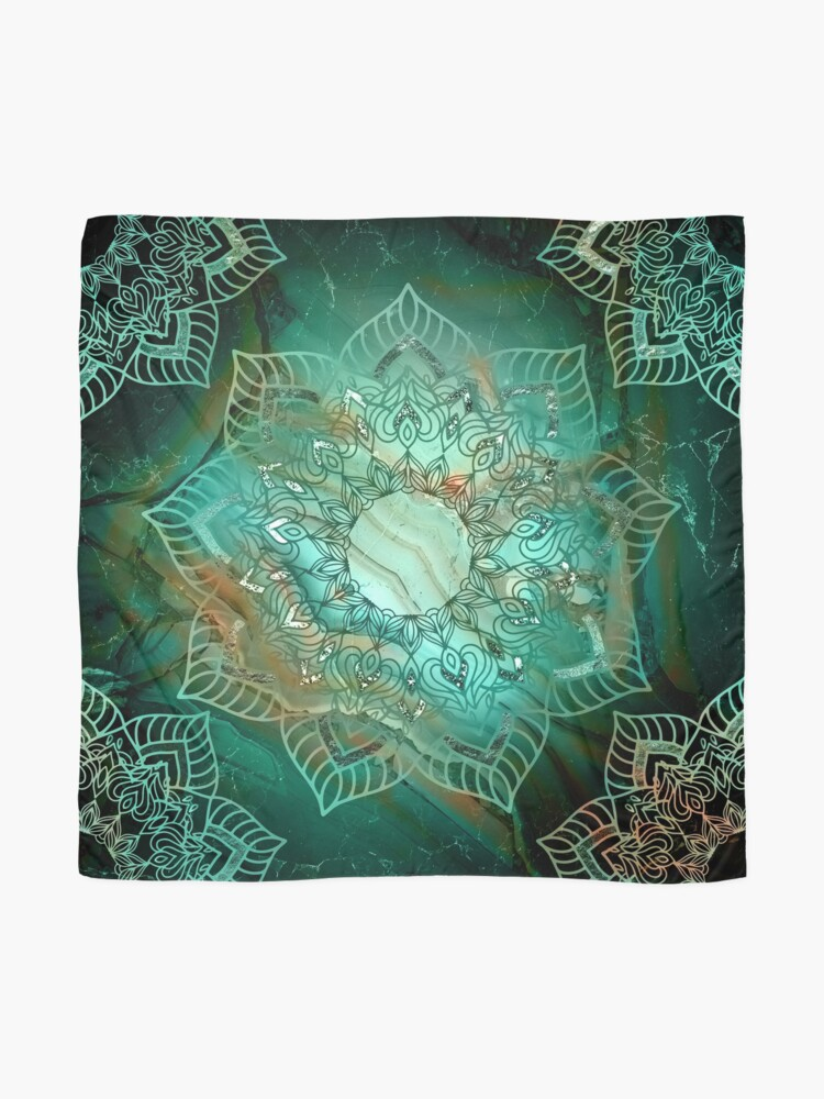 Alternate view of Beautiful Mandala - Teal turquoise copper and silver tones  Scarf