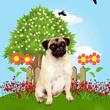 Pug Sitting in Garden with Flowers Spring by aashiarsh