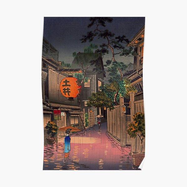 Night Street Rain Poster