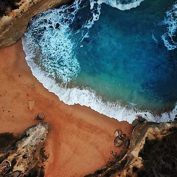 An Aerial shot of an Australian Beach surrounded by cliffs  by The-Drone-Man
