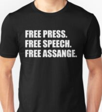 Free Press, Free Speech, Free Julian Assange  Unisex T-Shirt