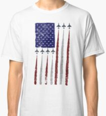 """Smoke On!"" American Flag Aircraft Formation Design Classic T-Shirt"