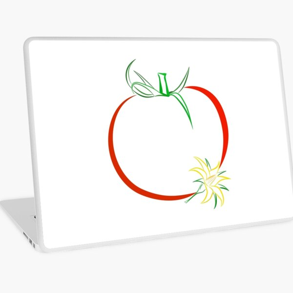 Colour outline of ripe tomato and tomato flower Laptop Skin