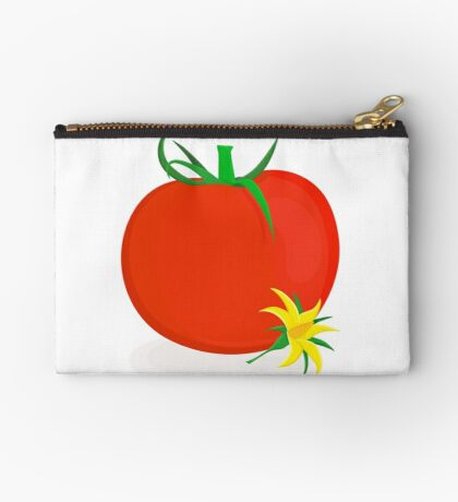 Ripe tomato with green stalk and yellow tomato flower lying near it Zipper Pouch