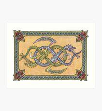 Celtic Infinity Dragons Art Print