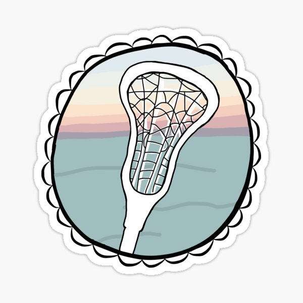 Lacrosse stick with sunset Sticker