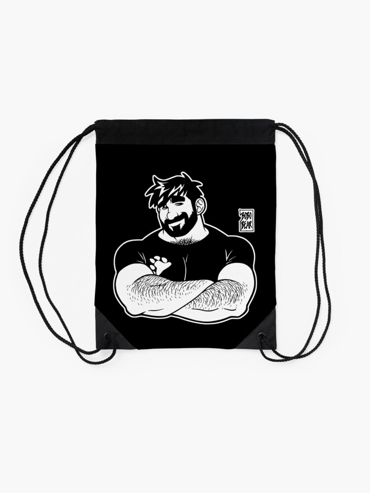 Alternate view of ADAM LIKES CROSSING ARMS - LINEART Drawstring Bag