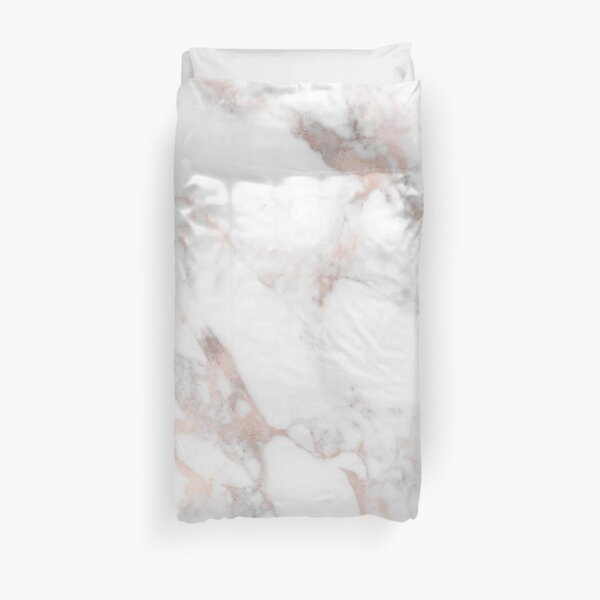 Luxury Rose-gold faux marble Duvet Cover