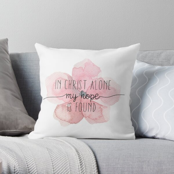 Christian Quote Watercolor Flower Throw Pillow