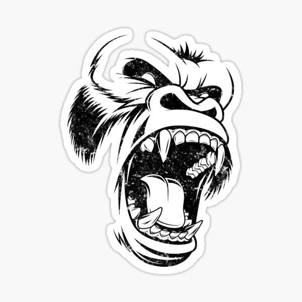 Cooles schreiendes Gorilla-T-Shirt Sticker