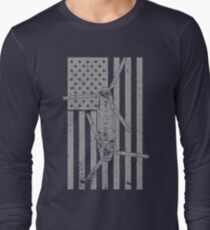 CH-47 Chinook Helicopter Vintage Flag Design Long Sleeve T-Shirt