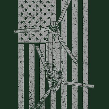 CH-47 Chinook Helicopter Vintage Flag Design by RealPilotDesign