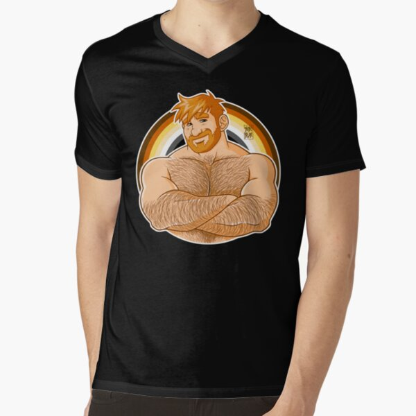 ADAM LIKES CROSSING ARMS - BEAR PRIDE - GINGER EDITION V-Neck T-Shirt