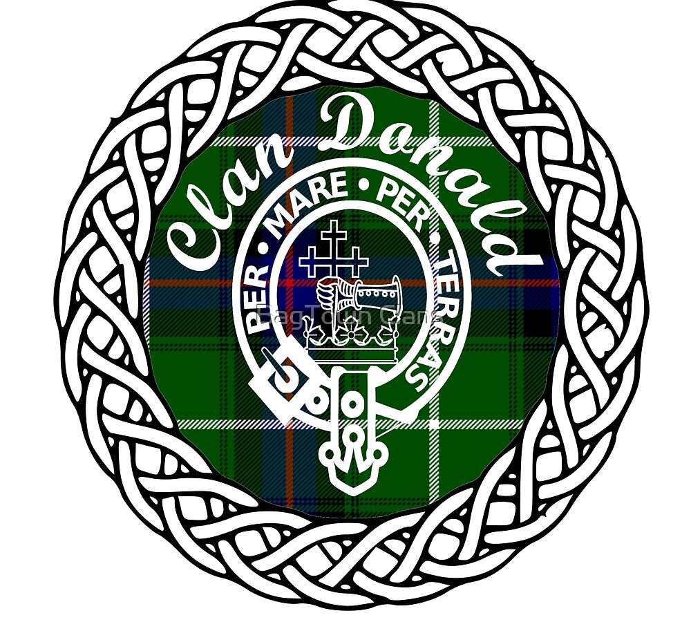 d68750943 Donald, MacDonald, McDonald Scottish Clan surname last name tartan crest  badge by BagTown Clans