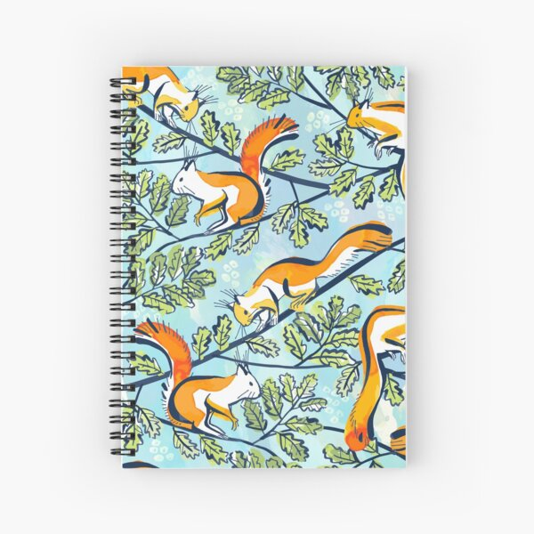 Oak Tree with Squirrels in Summer Spiral Notebook