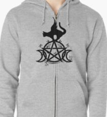 Triple Moon Pentacle Winged Cat Wiccan Wicca Pagan Design Zipped Hoodie