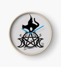 Triple Moon Pentacle Winged Cat Wiccan Wicca Pagan Design Clock