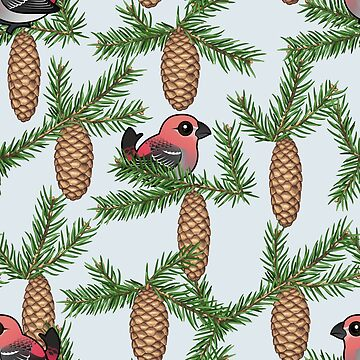 Birdorable Pine Grosbeak with Pine Cones Pattern by birdorable