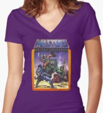 He-Man Masters of the Universe Battle Scene with Skeletor Women's Fitted V-Neck T-Shirt