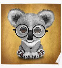 Cute Baby Koala Bear Cub Wearing Glasses on Yellow Poster