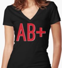 AB+ Blood Type Women's Fitted V-Neck T-Shirt