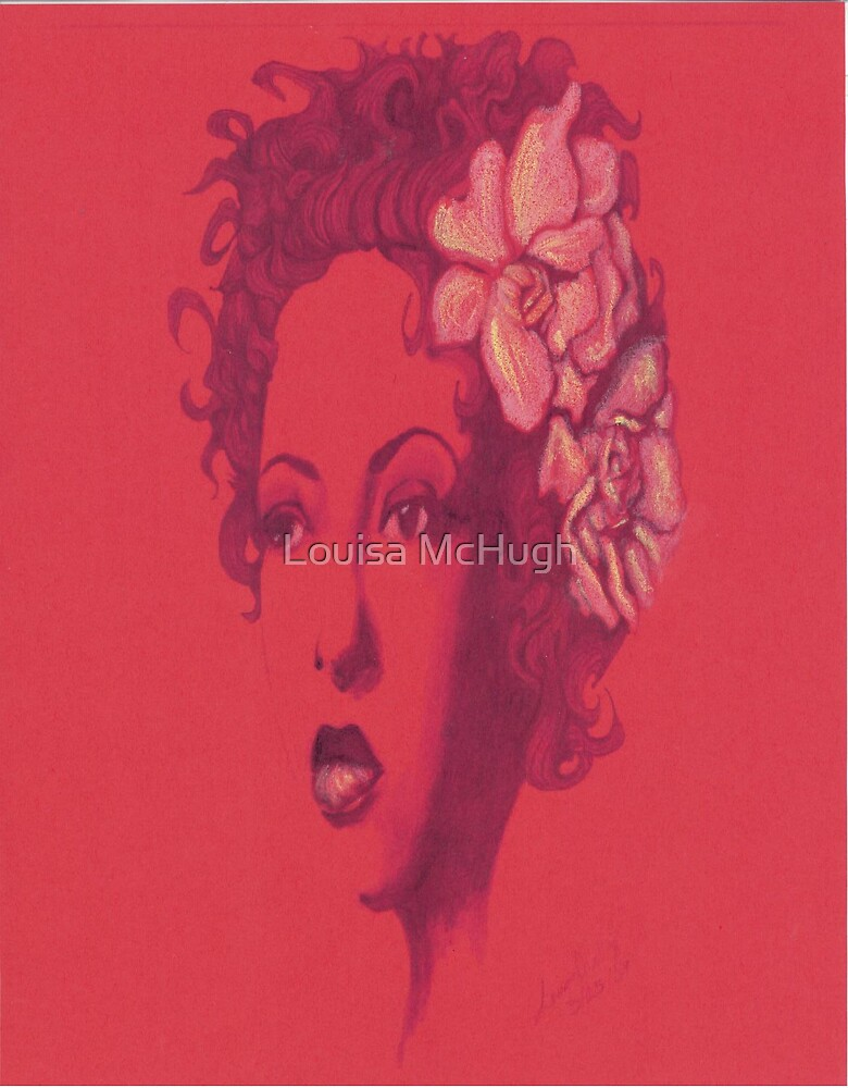 Billie Holiday in red by Louisa McHugh