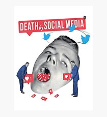 Death by Social Media T-Shirt - Too much social media can cause death. Photographic Print