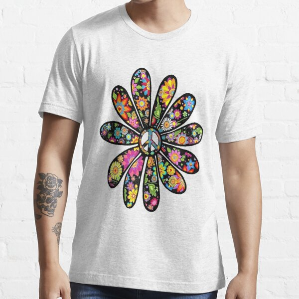 Hippie Trippy Flower Power Peace Sign Floral Essential T-Shirt