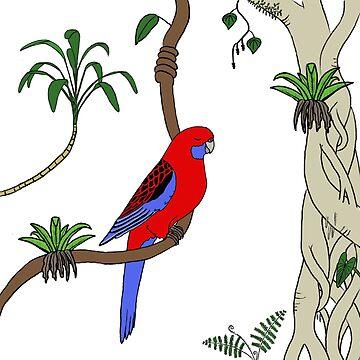Crimson Rosella by wanungara