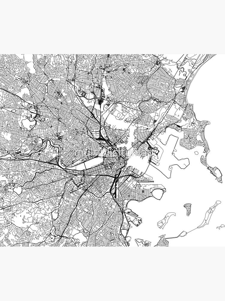 Boston Weiße Karte von multiplicitymap