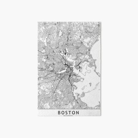 Boston White Map Art Board Print