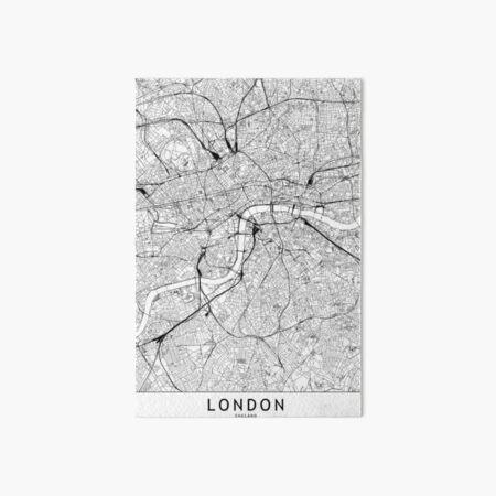 London White Map Art Board Print